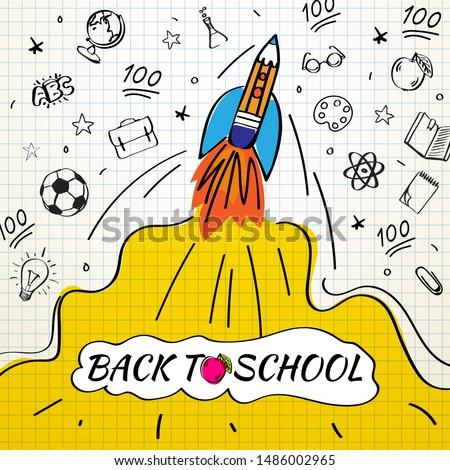 Powrót do szkoły sprzedaży szablon szkoły gryzmolić Zdjęcia stock © ikopylov