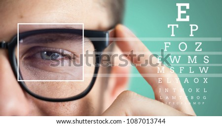man with eye focus box detail and lines and Eye test interface Stock photo © wavebreak_media