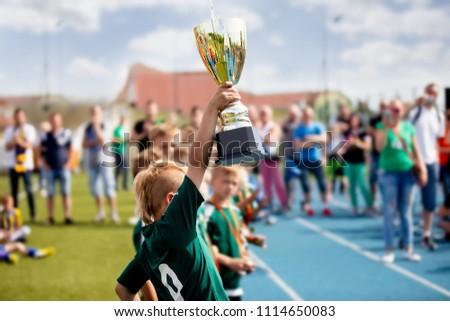 Gelukkig sport voetbal team trofee winnaars Stockfoto © matimix