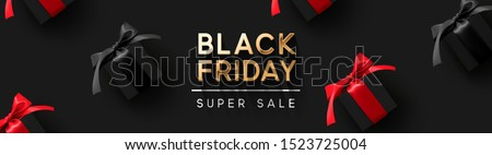 Black Friday Super Sale. Black gift box on dark background, design 2020. Vector illustration. Stock photo © ikopylov