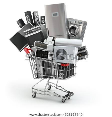 house into shopping cart on white background. Isolated 3D illust Stock photo © ISerg