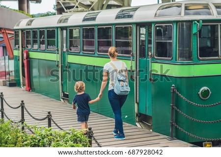 Mama syn starych tramwaj dzieci Zdjęcia stock © galitskaya