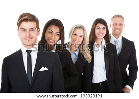 Front view of diverse business people standing in queue in lobby at office  and looking files and th Stock photo © wavebreak_media