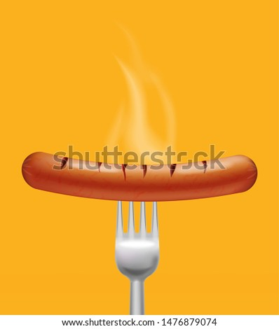 Sausage steaming Vector realistic. Menu advert concept. 3d illus Stock photo © frimufilms
