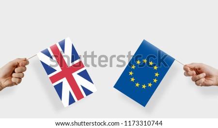 Flagi wielka brytania europejski Unii kopia przestrzeń banderą Zdjęcia stock © Zerbor