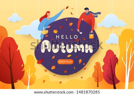 People in park autumn Vector flat style. Fall season poster. Urb Stock photo © frimufilms