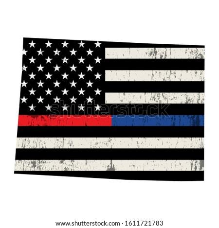 Colorado policji strażak wsparcia banderą amerykańską flagę Zdjęcia stock © enterlinedesign