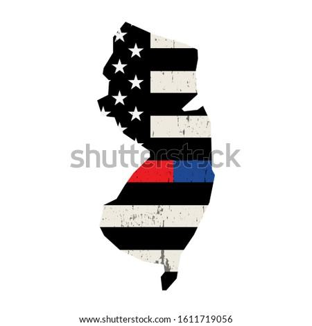 New Jersey polis destek bayrak amerikan bayrağı Stok fotoğraf © enterlinedesign