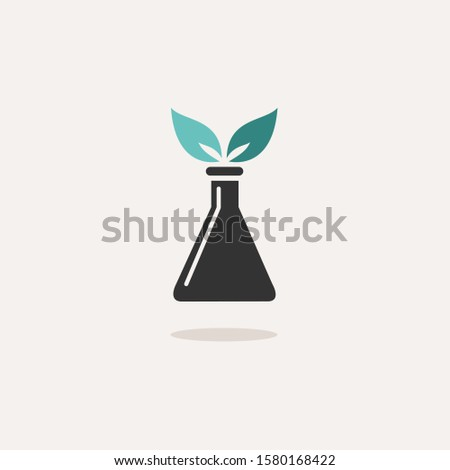 Conical flask with plant. Icon with shadow on a beige background. Chemistry vector illustration Stock photo © Imaagio