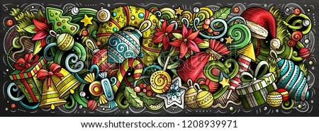 2020 doodles horizontal illustration. New Year objects and elements poster Stock photo © balabolka