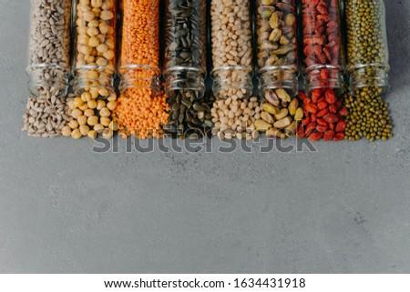 Vegetariano prodotti completo proteine vetro grigio Foto d'archivio © vkstudio