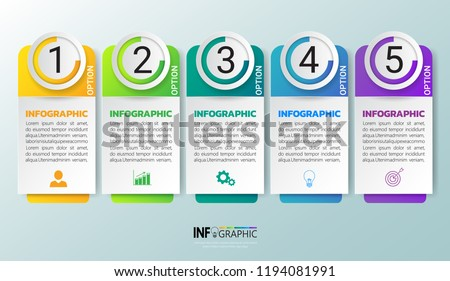 Infographic template. 6 options rectangular design with beautiful colors. Vector timeline elements f Stock photo © ukasz_hampel