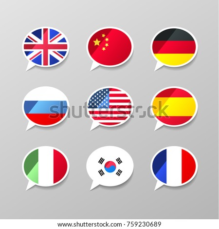 Nine colorful speech bubbles with flags, different language concept Stock photo © evgeny89