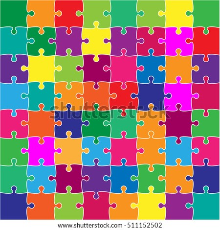 64 white puzzles pieces arranged in a square. Jigsaw Puzzle template ready for print. Cutting guidel Stock photo © evgeny89