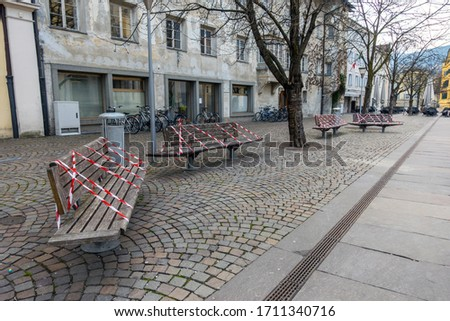 Stock photo: Empty bench in park during a city lockdown in coronavirus pandemic