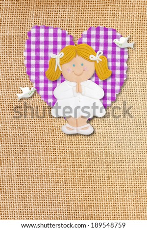 first holy communion invitation card rustic style funny brunette girl stock photo © marimorena