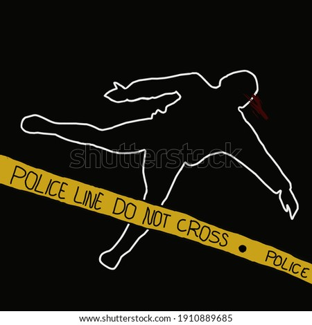 Murder Silhouette on yellow hazard lines. Accident prevention or Stock photo © pashabo