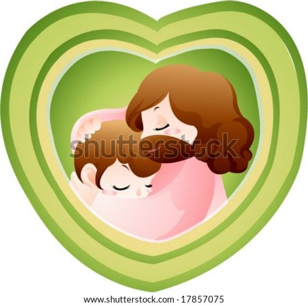 jesus christ holding boy and girl and heart shape environment stock photo © zzve