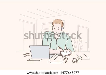 geconcentreerde · studenten · luisteren · leraar · universiteit · gehoorzaal - stockfoto © wavebreak_media