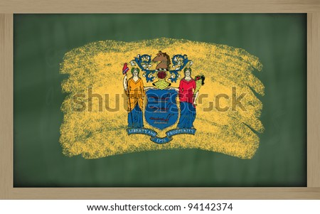 Flag Of Us State Of New Jersey On Blackboard Painted With Chalk Foto stock © vepar5