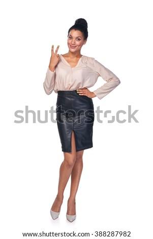 retrato · jóvenes · mujer · de · negocios · victoria · gesto - foto stock © HASLOO