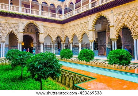 Courtyard of Maidens Arches Alcazar Royal Palace SevilleAndalusi Stock photo © billperry