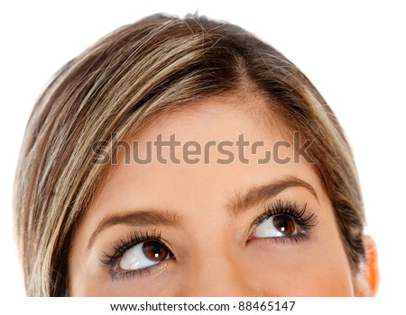 close up of young business woman looking up for thought bubble a stock photo © hasloo