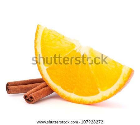 Narancs rész fahéj izolált fehér hát Stock fotó © natika