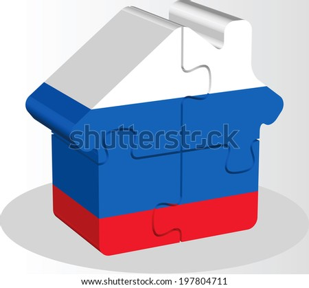 house home icon with Russian flag in puzzle isolated on white ba Stock photo © Istanbul2009