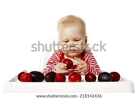Baby ausgewählt Pflaumen Scharfeinstellung Gesicht süß Stock foto © filipw