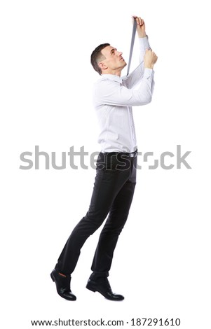 Businessman in suit hanging himself on tie over white background Stock photo © deandrobot