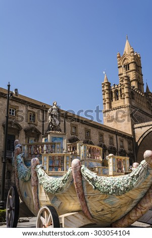 Wagon Santa Rosalie near the cathedral on Palermo, Sicily, Italy Stock photo © ankarb