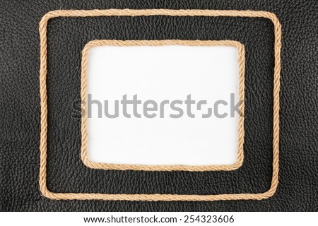 Two frame of rope, lies on a background of a black natural leath Stock photo © alekleks