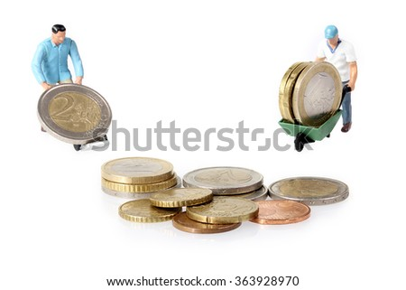 two miniature workers drives euro coins stock photo © smuki