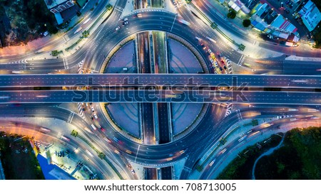aerial view of transportation traffic express way road in city,  Stock photo © FrameAngel