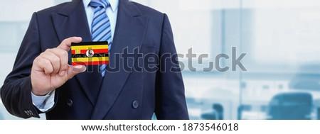 Hitelkártya Uganda zászló bank prezentációk üzlet Stock fotó © tkacchuk