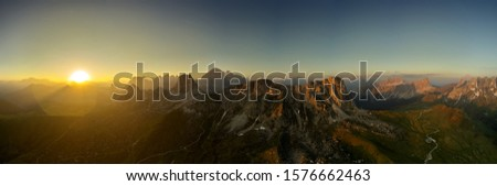 Panoramic View of the  Mountains  with Majestic Sunbeams and Clo Stock photo © Taiga