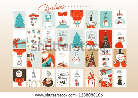 art merry christmas card with season gift tag and santa claus stock photo © konstanttin