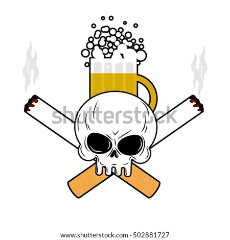 Skull and crossbones cigarettes. Smoking leads to an emblem of d Stock photo © MaryValery