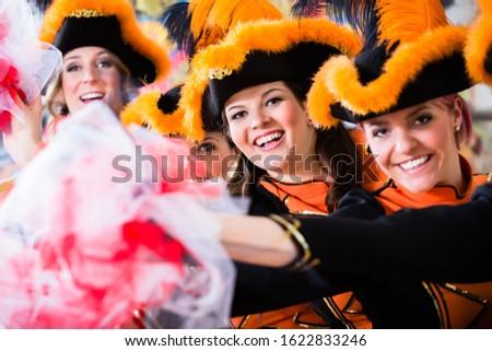 Stockfoto: German Traditional Dance Group Funkenmariechen In Carnival Celeb