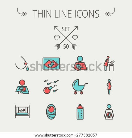 Modern vector line icon of breastfeeding, baby infant food. Breast feeding elements - pump, woman, c Stock photo © Nadiinko