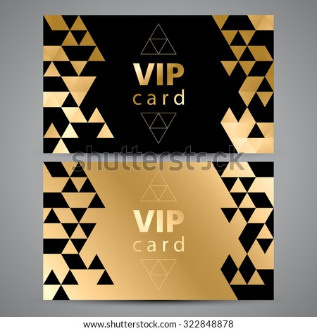 vip cards black and golden design triangle decorative patterns stock photo © fresh_5265954