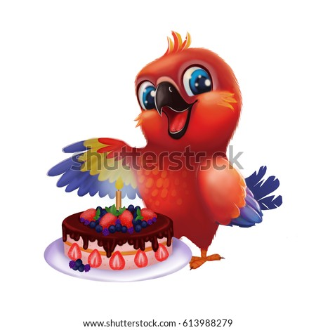 Smiling, Happy Parakeet Parrot Presenting Gift to Friend - Kids Happy Birthday Stock photo © Loud-Mango