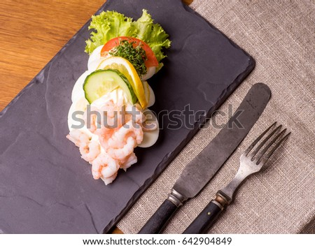 Platos abierto sándwich hígado tocino pepino Foto stock © Klinker