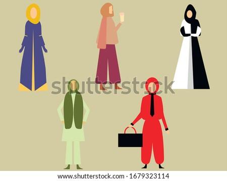 Moslim arab zakenvrouw ingesteld vector cartoon Stockfoto © NikoDzhi