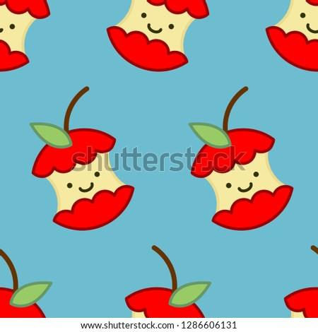 赤いリンゴ コア かわいい 漫画 パターン フルーツ ストックフォト © popaukropa