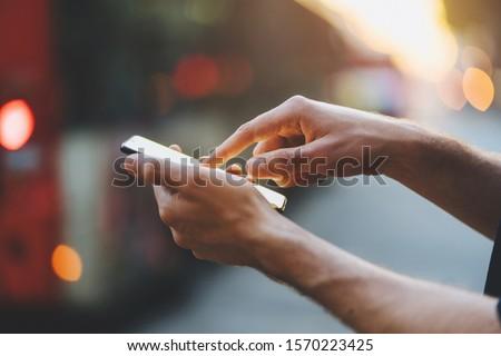 Photo stock: écran · tactile · mains · vintage