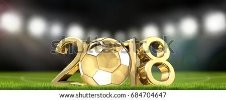 soccer football stadium and golden football ball 2018 3d renderi Stock photo © Wetzkaz