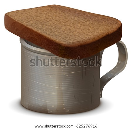 Metal war mug with water and piece of gray bread. Symbol of memory of dead Stock photo © orensila