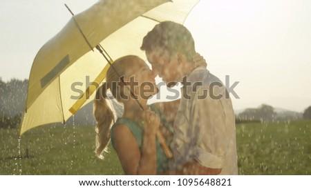 Sevmek öpüşme yağmur şeffaf Stok fotoğraf © DisobeyArt
